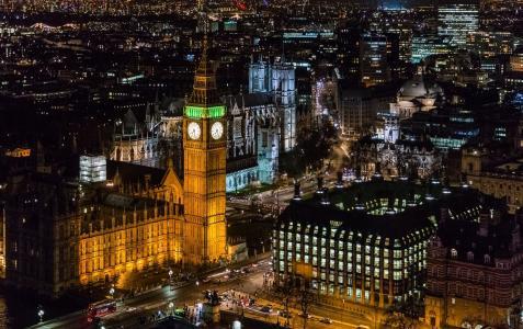伦敦城市,城市,夜晚,灯光