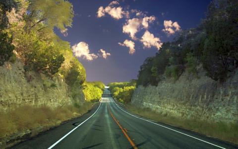 自然,公路,树木,云