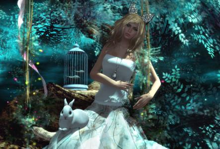 女孩,兔子,笼子