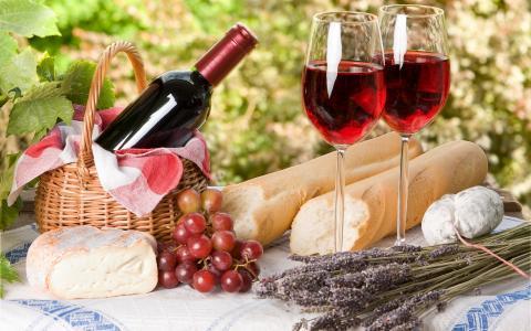 酒,红色,瓶,眼镜,葡萄,奶酪,面包,柳条篮