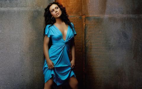 爱丽丝米兰,女演员,着装,蓝色,墙壁,艾莉莎米兰诺