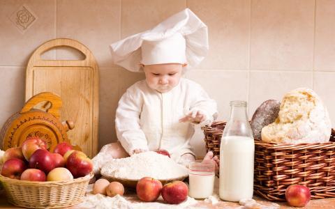 厨师,苹果,烹饪