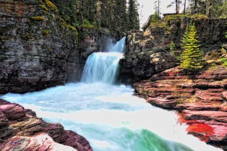 冰川国家公园,岩石,瀑布,河流,树木,景观