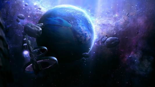 太空船,星球,星星