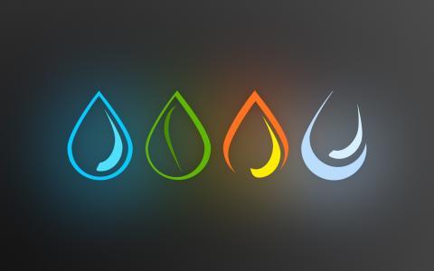 元素,水,火,空气,地球
