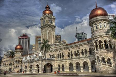 苏丹阿卜杜勒萨马德大厦,马来西亚吉隆坡,苏丹阿卜杜勒萨马德大厦,吉隆坡,马来西亚,建筑,塔楼,圆顶,钟,棕榈树