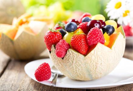 水果,浆果,水果沙拉,甜瓜,草莓,覆盆子,蓝莓