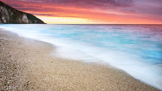 夕阳在海滩,壁纸