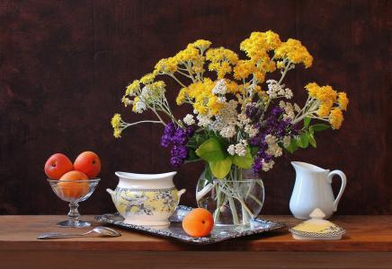 杏,花,静物,托盘,糖罐