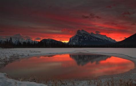 黎明,雪,冬天,山,湖