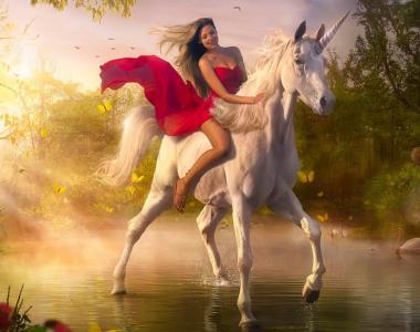 俄罗斯,骑手,在,红色,裙子,上,白,独角兽