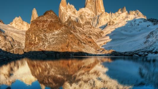 大山,湖,壁纸