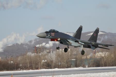着陆,苏-35,战斗机,领空,俄罗斯