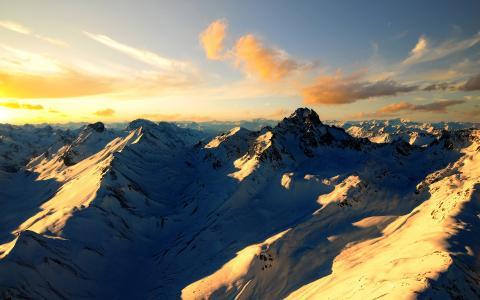 雪山,冬天