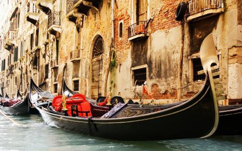贡多拉,河,威尼斯