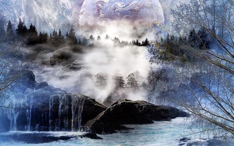 景观,3D,树,山,艺术,河,树,瀑布