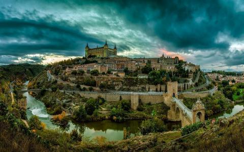 托莱多,西班牙,洪水,河流,桥梁