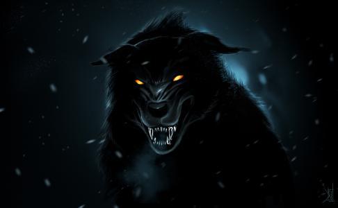咧嘴笑,艺术,捕食者,黑狼,由therisingsoul
