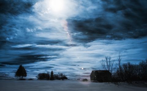 晚上,冬天,房子,景观
