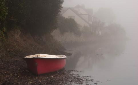 船,河,早晨,岸,房屋,雾