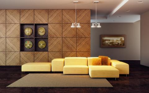 并且,现代,客厅,房间,壁纸