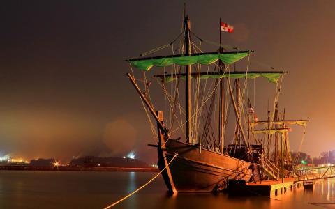 帆船,y,系泊,绿色,风帆