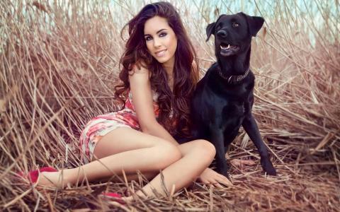 微笑,女孩,看,狗