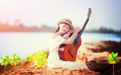女孩,吉他,音乐