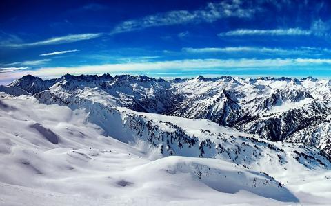 雪,距离,冬季,山脊,山峰,山,天空,地平线
