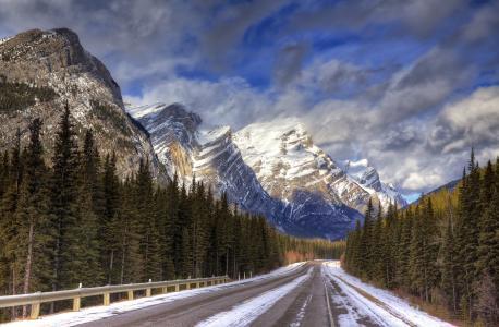天空,云,山,雪,森林,路,公路