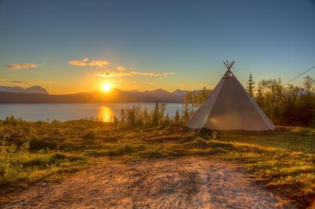 帐篷,大自然,水,ikibana,湖