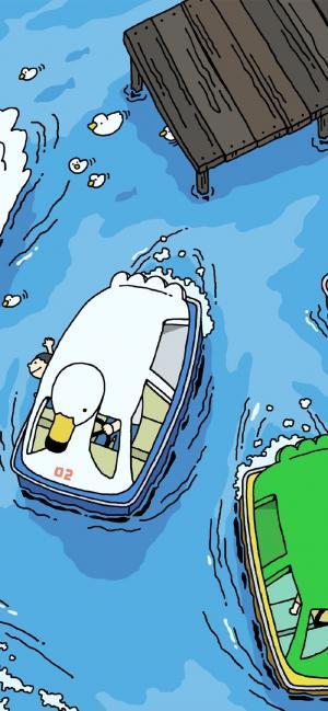 卡通河边小船绘画