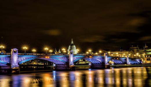 伦敦,伦敦,英格兰,英国,圣保罗大教堂,桥,灯,照明,反射,河,泰晤士河,城市,夜