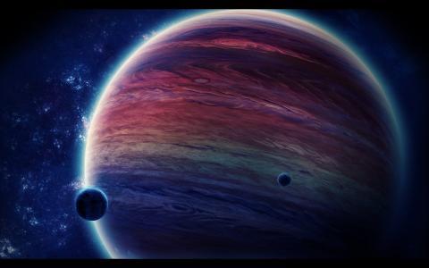 天然气巨头,行星,月球,太空,星星