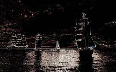 帆船,海,天空,抽象