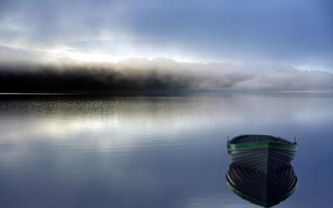 湖,雾,船,景观,早上