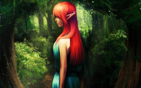 小精灵,女孩,树林,树木