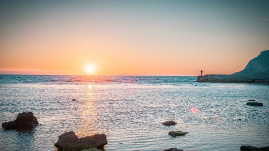 海上落日唯美风光