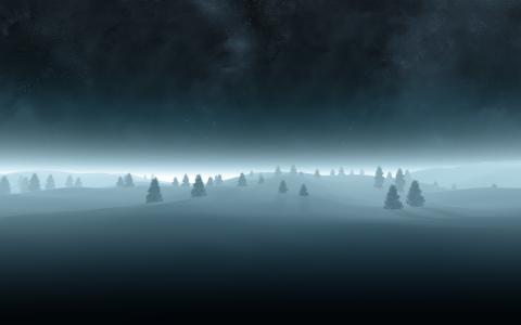 雪,树,星星