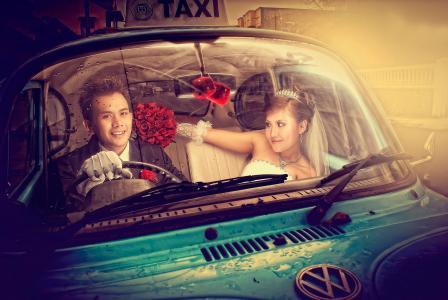 出租车,新娘,新郎