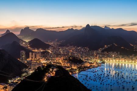 巴西,里约热内卢,湾,湾,船,晚上