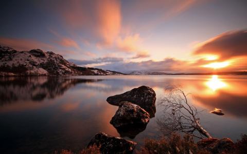 湖,山,石头,日落
