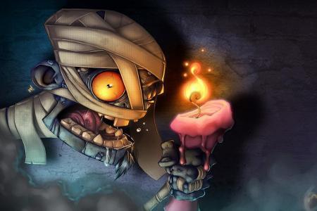 木乃伊,绷带,蜡烛,火