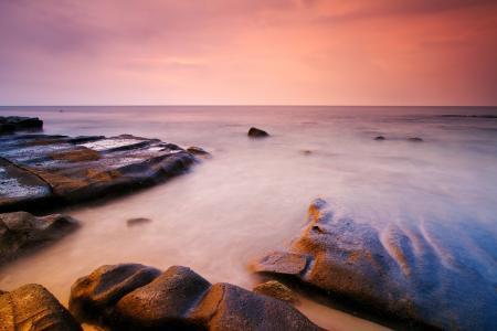 石头,岸,天空,日落,海