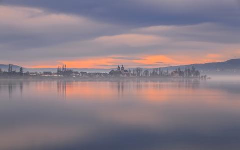 康斯坦茨湖,德国康斯坦茨湖,德国湖,黎明,早晨,小镇,水面,景观