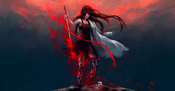 武器,艺术,眼泪,nanfe,剑,女孩,雨衣,红色