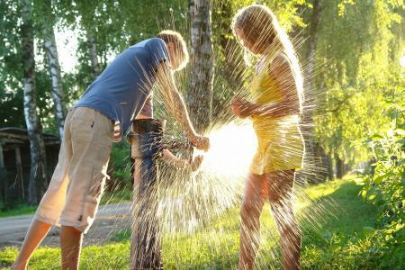 夏天,孩子,游戏,水