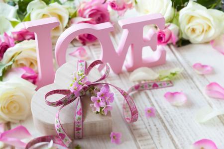 情人节,情人节,鲜花,玫瑰,礼物,花瓣,爱情,信件