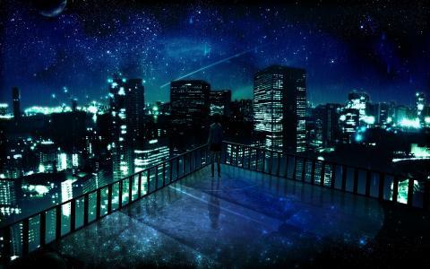全景,星星,城市