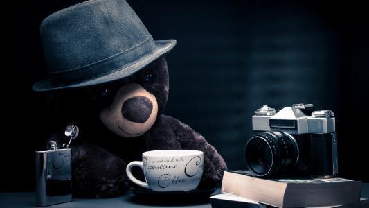 时间,对,泰迪,熊,壁纸
